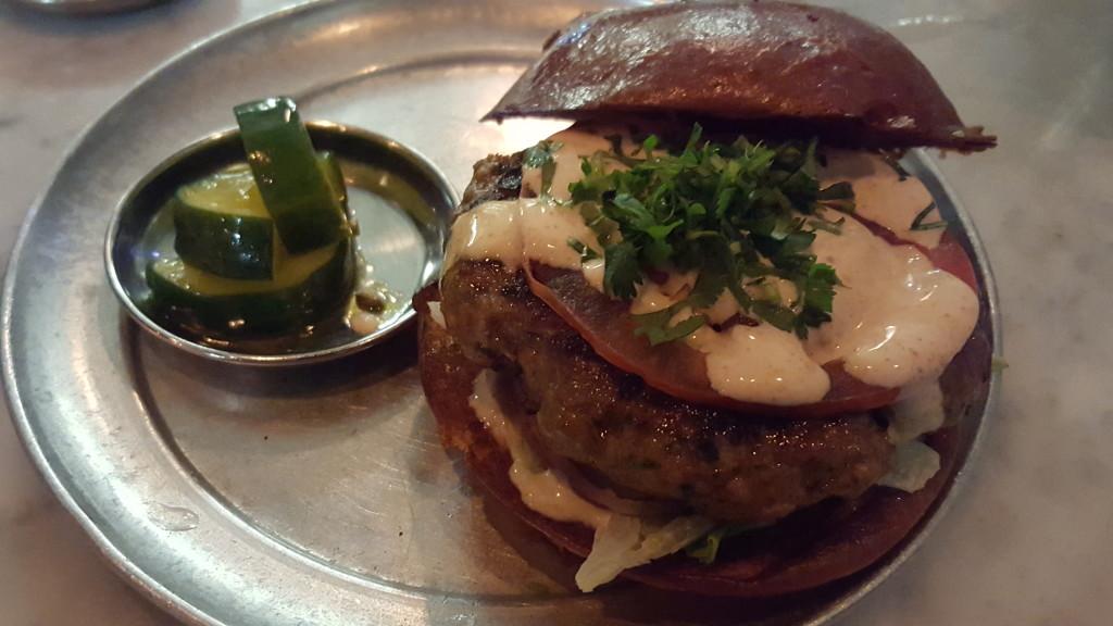 The lamb burger at Badmaash. Badmaash Badmaash: A Badass Indian Restaurant Lamb burger at Badmaash Dec 2015