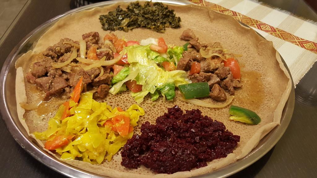 Lamb tibs with an assortment of colorful veggies at Ribka Ethiopian Cuisine. Ribka Ethiopian Cuisine LA-Vegas Pit Stop: Ribka Ethiopian Cuisine in Victorville Ribka 2