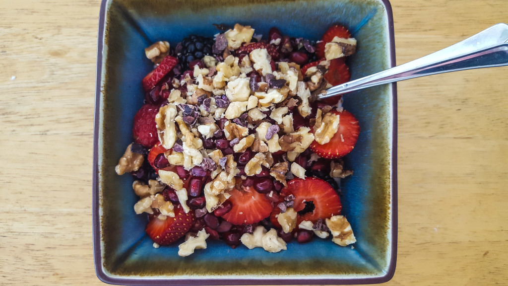 Healthy breakfast, mission complete: yogurt, true cinnamon, fruit, nuts, cocoa nibs. healthy breakfast Healthy Breakfast YogurtComplete