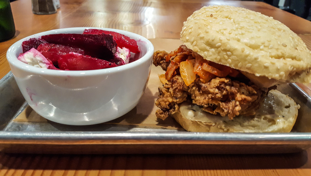 The fried chicken kimchi sandwich, with a side of beets, at Farmboy Kitchen. hollywood fringe TheatrEats: Hollywood Fringe Dining Guide Farmboy